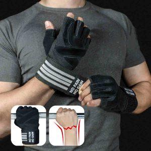 Găng Tay Tập GYM, Thể Hình Chống Chai Tay Kết Hợp Quấn Cổ Tay No Pain No Gain Gloves with Wrist Support
